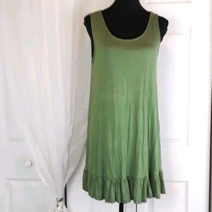Love J sz L green ruffle hem tank shirt dress.